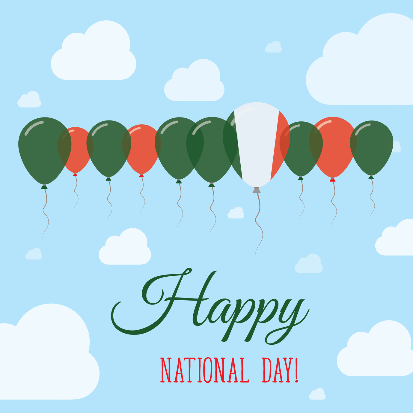 Italy National Day Flat Patriotic Poster. Row of Balloons in Colors of the Italian flag. Happy National Day Card with Flags, Balloons, Clouds and Sky.