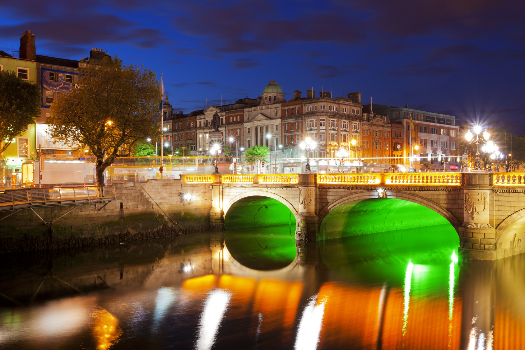 Dublin at night down by the Liffey River