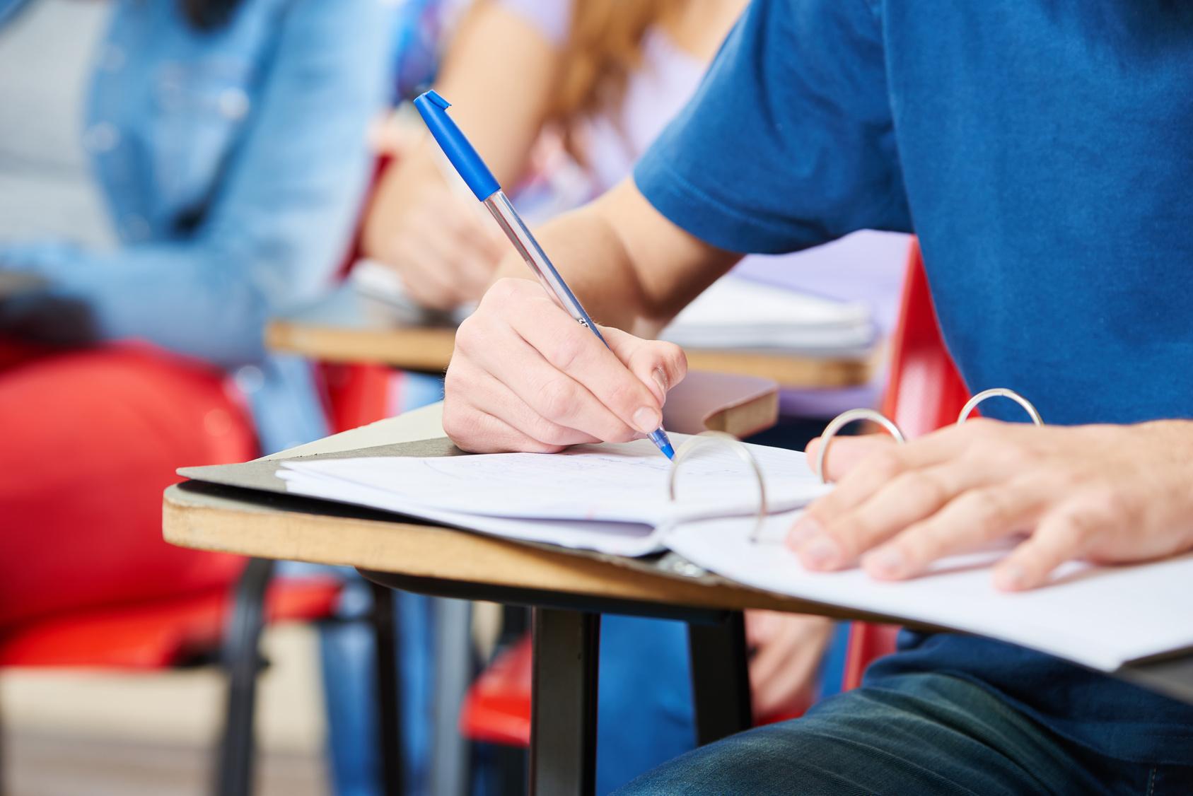Schüler macht sich Notizen in einem Ringbuch in der Schule