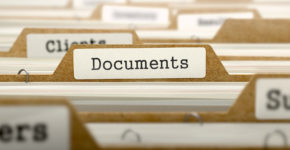 Documents Concept. Word on Folder Register of Card Index. Selective Focus.